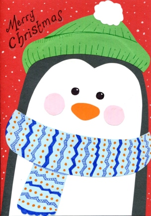 Penguin handmade Christmas card